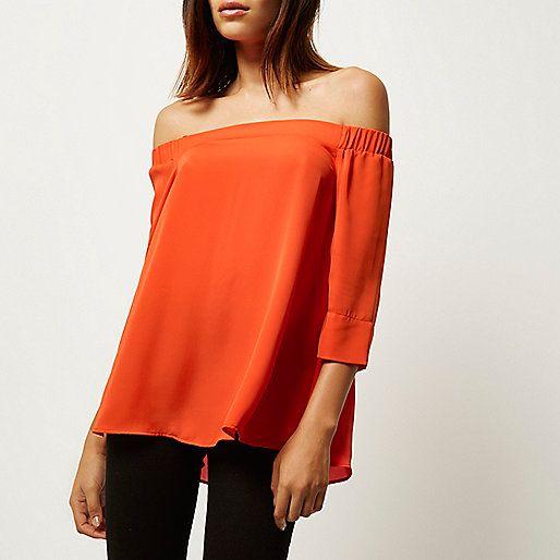 Orange bardot top - bardot / cold shoulder tops - tops - women