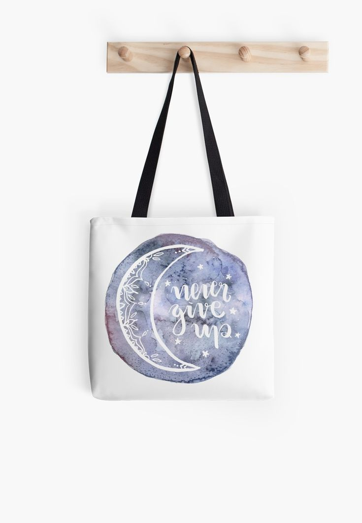 Never Give Up Watercolor Moon Aquarelle Mond Illustration mit Lettering Typografie • Also buy this artwork on bags, apparel, stickers und more.