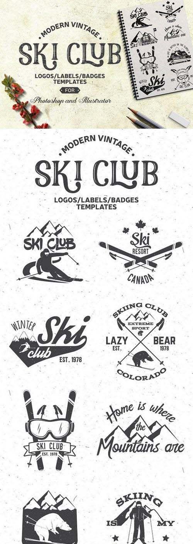 CreativeMarket - Vintage Ski Club Logos/Labels/Badges