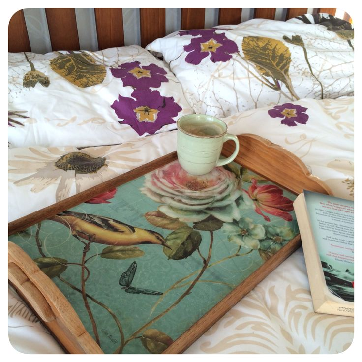 Breakfast birdies. Resin covered tray I stripped back and re varnished.  Facebook.com/homecandynz