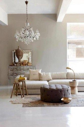 Un salon taupe, lin et blanc, raffinement garantit !
