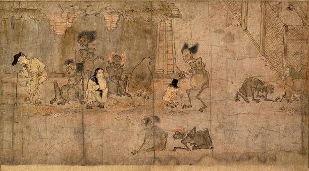 """107. Rotolo del """"Manuale degli spiriti famelici"""" (Gaki zoshi), seconda metà del XII secolo. Colore su carta, particolare (h. cm. 26,8)."""