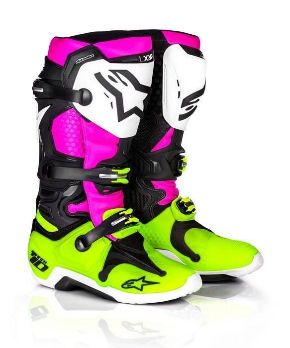2017 New Tech 10, Limited Edition Radiant Black/Pink/Flo Yellow Motocross Boots.