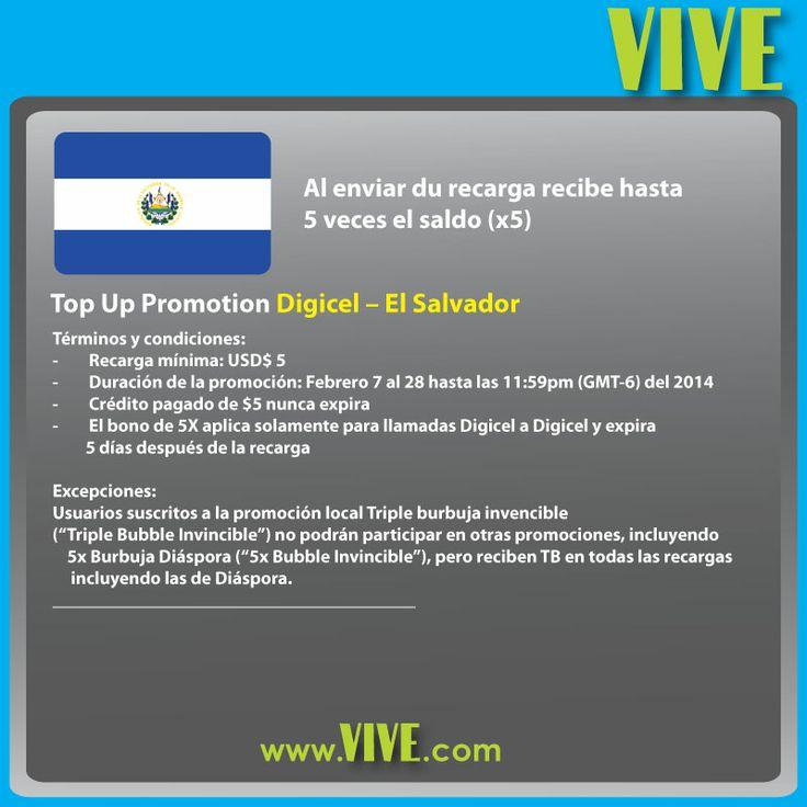 En este mes del #amor y la #amistad diles cuánto los quieres y envía una recarga internacional en www.vive.com a #Digicel #ElSalvador Ellos reciben 5X el saldo!