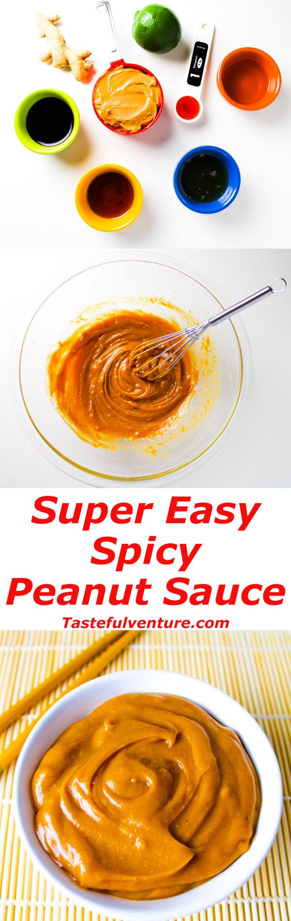 This Spicy Peanut Sauce is super easy to make and is Gluten free! We used coconut peanut butter, soy sauce, rice vinegar, honey, ginger, lime, and chili sauce. | Tastefulventure.com