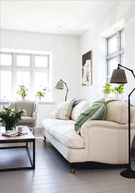 sofa, lights, windows, cushions