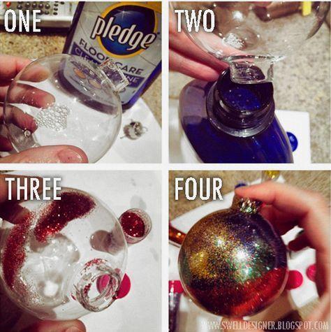 Glitter Galaxy Ornament DIY - you need clear ornaments, floor wax and GLITTER ;D