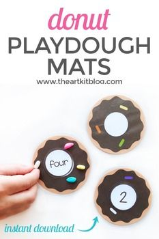 Donut Counting Cards – Playdough Mats – Activity Sheets for Number Practice