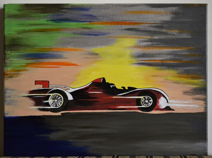 Acrylic painting on canvas 2013 Running car Size: 40×30×4 cm