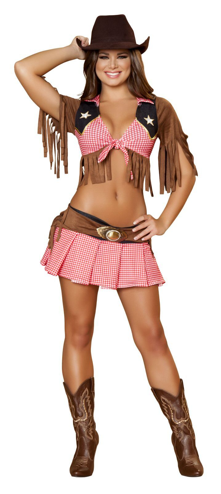 Two Piece Sassy CowgirlCostume Includes The Tie Top With Fringe And Patch Detail With Matching Pleated Skirt With Belt. Shop this now YourLaMode #sexy #western #costumes #women #clothinge