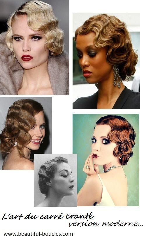 Tutoriel et inspirations carré boucles crantées, coiffure rétro, vintage, années 20-30, version moderne. #Hairstyle