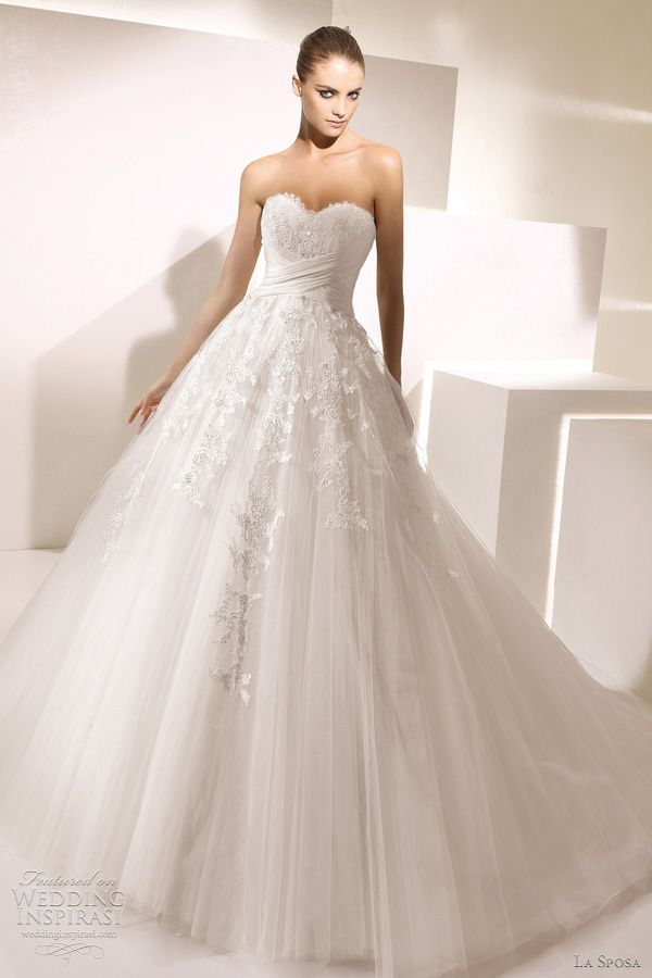 """""""Secreto"""" strapless gown with sweetheart neckline by La Sposa.  completely romantic."""