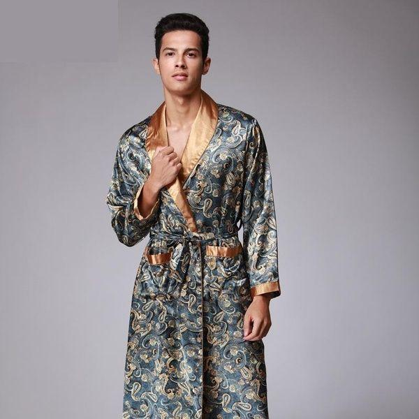 Chinese Women/'s//Men/'s silk Kimono Robe Gown nightrobe Coffee average size