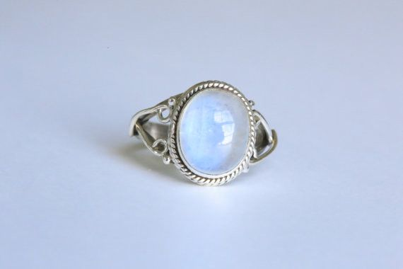 This is a beautiful ethnic 925 Sterling Silver ring with natural Rainbow Moonstone stone. Metal - 92.5 Sterling Silver Stone - Rainbow Moonstone                                                                                                                                                      More