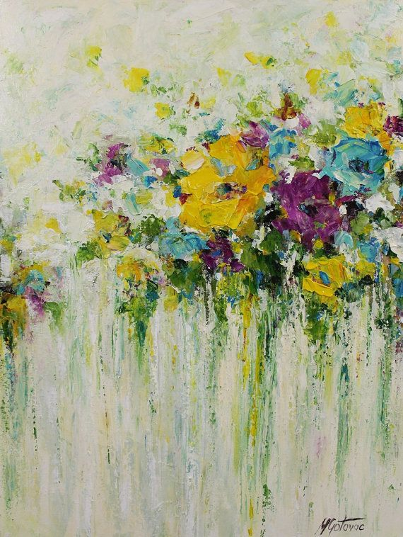 Acrylic flowers abstract painting done with palette knife on canvas.  TITLE: Beauty of the summer  SIZE: 18 x 24 MEDIUM: Acrylic. Protected with a