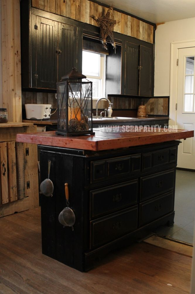Reclaimed+Dresser+into+Kitchen+Island+With+Pallet+Countertop