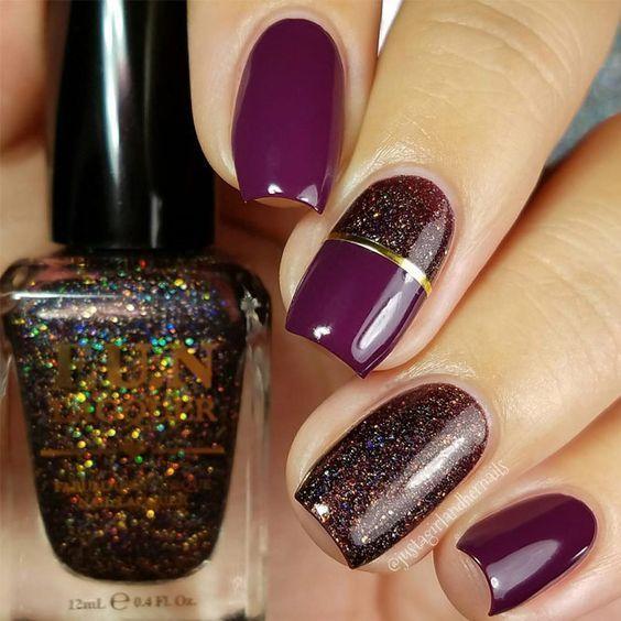 unhas, esmaltes e nail art de inverno bordo e glitter