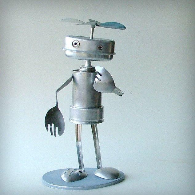 robot sculpture recycled art