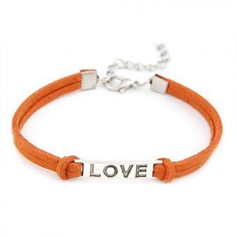 nioworld LOVE pulsera de cuerda trenzada-Naranja