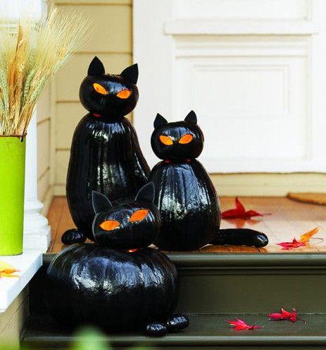 black cat pumpkins: Holiday, Black Cats, Halloween Pumpkin, Cat Pumpkins, Halloween Ideas, Halloween Cat