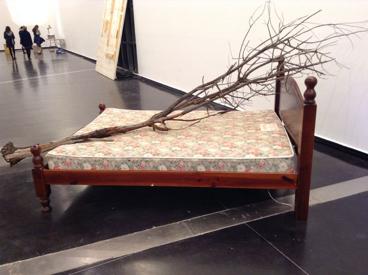 """'Eucalyptus standard' by George Egerton-Warburton, two beds bought from """"gumtree"""", a fallen tree from A Forest For Australia by Agnes Denes, television with HD video, 1:08 minutes, text"""