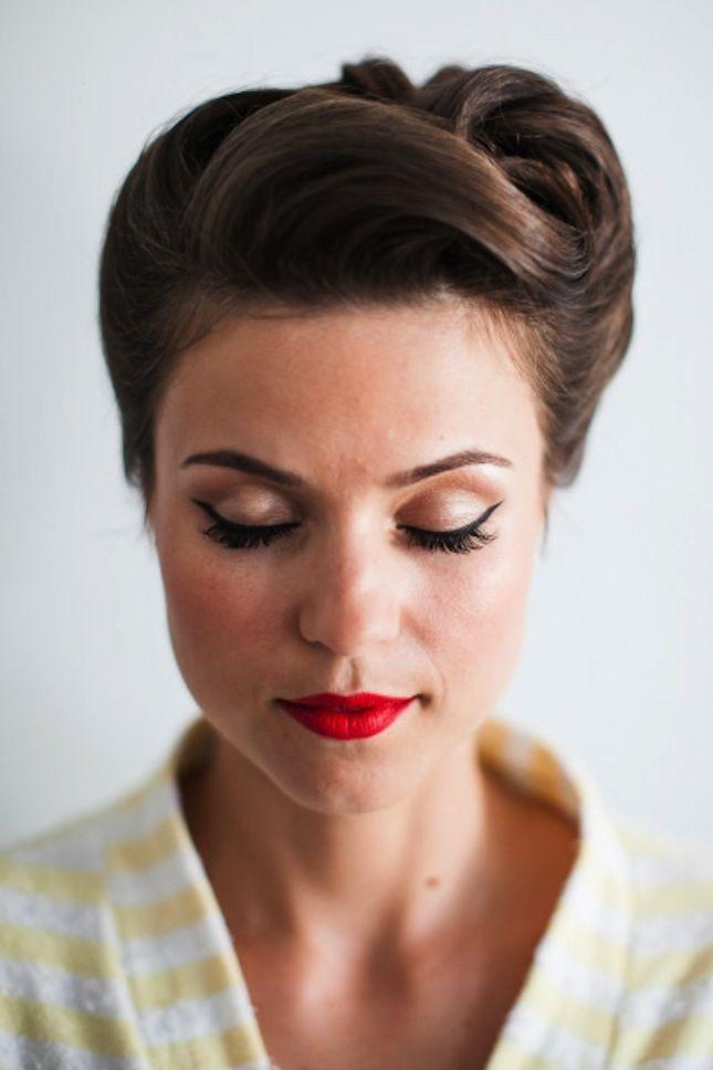 Retro Inspired Wedding Updo Hairstyle