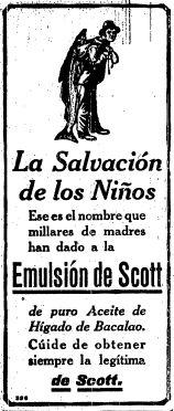 1921 - Ya dando guerra la Emulsión de Scott - Anuncio publicado en el Informador Guadalajara, Jalisco México