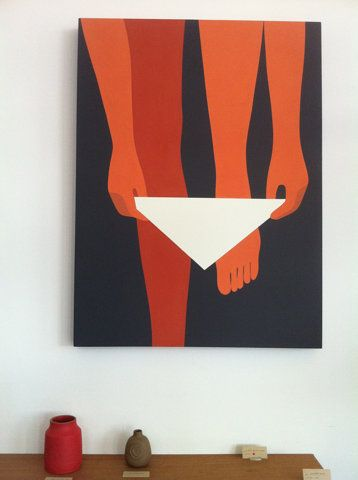 White Triangles.: Art Interiors, Brick, Geoff Mcfetridg, Heath Ceramics, Graphics, Legs, Bedrooms, Bathroom, Painting