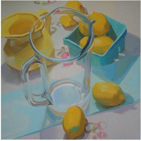 lemons, still life, glass sparkle, fresh: