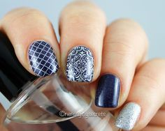 Here are my mix n match sapphire nails for #wnac2015! My base color is Tristam by @aengland and the patterns are from the @uberchic stamping  plate 1-03. You just gotta love these plates!  #uberchic #uberchicbeauty #aengland  This looks great! Can't wait to try out the nail stamps from Uber Chic Beauty Stamps! What a great pattern! Very simple to do and looks amazing! Gotta love nails and nail stamps!