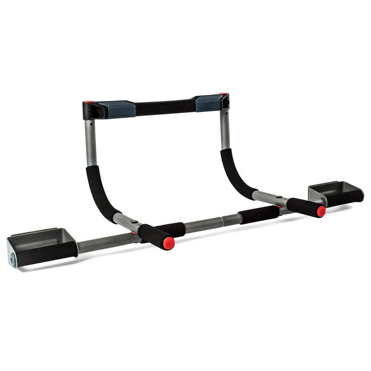 Perfect Fitness Multi-Gym Doorway Pull Up Bar and Portable Gym System, Pro. Portable gym that can be used as a doorway pull up bar or for situps, pushups, and dips; 300 pound weight capacity. Wide grip handles for 3 grip options to perform wide, close, and hammer grip pullups; padded handles ensure comfort for situps, pushups and dips. Sturdy, 300 pound weight capacity allows for use with weight vests. Patented door frame guard and two-way adjustable design; fits door frames up to 33…