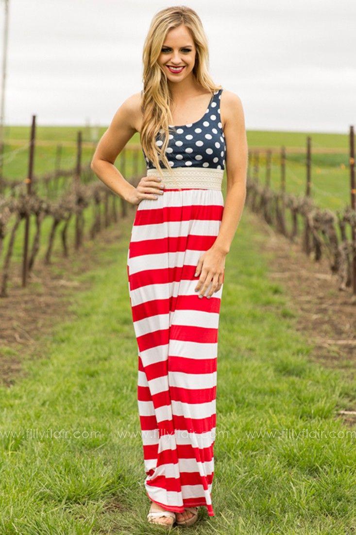 womens 4th of july maxi dress