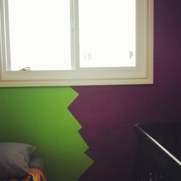 Boy/Girl shared room. Zig-zag down the center of their two colours dividing their room. (zig-zag goes all the way from the ceiling to the floor, on both walls across from one another)
