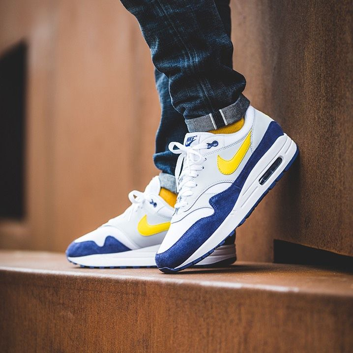 super popular bcdfa af88b Nike Air Max 1 Tour Yellow   Blue Recall Credit   43einhalb