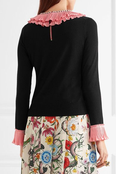 Gucci - Embellished Ruffled Silk, Wool And Cashmere-blend Sweater - Black - x large