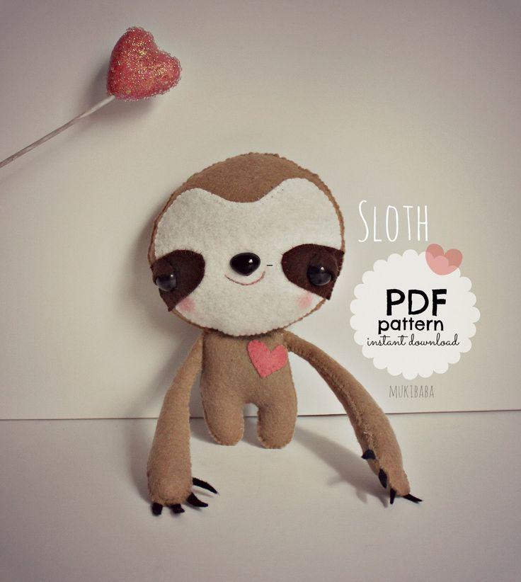 Sloth PDF Sewing Pattern, Easy DIY Tag-Along Softie, Baby Sloth, Sewing Tutorial by mukibaba on Etsy https://www.etsy.com/listing/223526539/sloth-pdf-sewing-pattern-easy-diy-tag