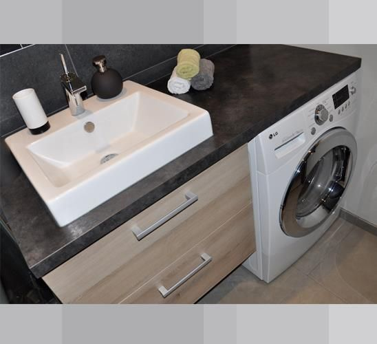washing machine in bathroom ,Bathroom Laundry Room Combination .Salle de bain * machine a laver