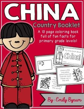 "This ""All About China"" booklet can be used for a very basic country study in lower elementary grades! Each page contains a basic fact and related illustration. All graphics are in an outline format so that it's ready to be colored like a mini-coloring book.This coloring booklet gives all the general/basic information about China, including:-geography-Chinese flag-famous sites-common foods-Great Wall of China-Panda Bears-Chinese New Year (Dragon Dance)-Buddhism-blank page for favorite…"
