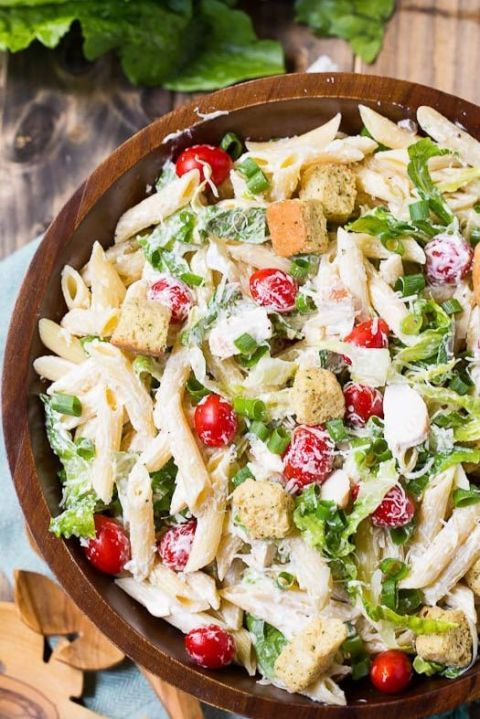 Like Caesar salad? Just add pasta for a creamy, crunchy pasta salad.  Get the recipe at Spicy Southern Kitchen.