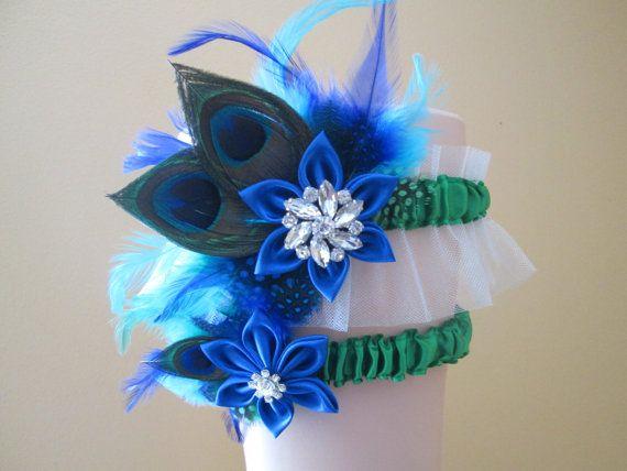 Peacock WEDDING Garter Set Royal Blue and by NakedOrchidGarters