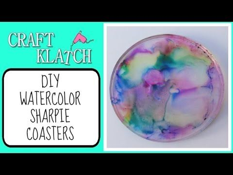 ▶ DIY Watercolor Sharpie Coasters Craft Klatch Another Coaster Friday - YouTube