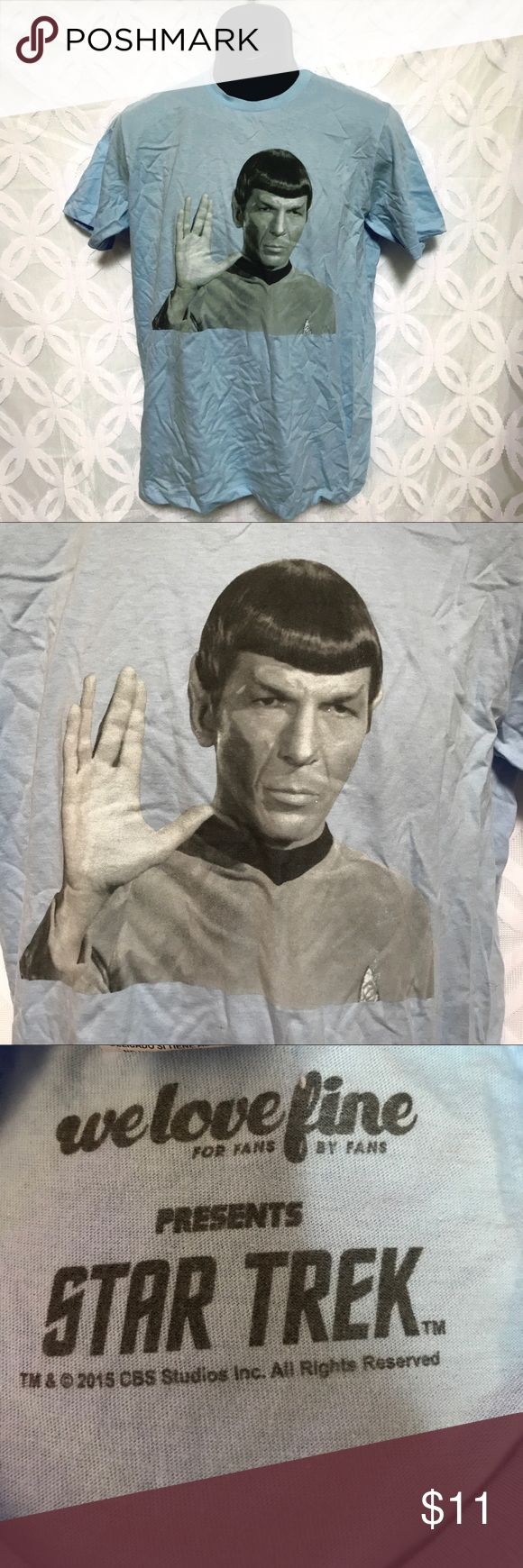 """Star Trek Spock Vulcan Salute Live Long & Prosper Star Trek Spock Vulcan Salute Live Long Prosper Tee NWOT.    Measurements Laying Flat Size 🔹 M Armpit to Armpit 🔹20"""" Shoulder to Hem 🔹29"""" Bundle to Save 🤓 Sorry NO outside transactions 🚫 NO trades 🚫 Reasonable Offers welcomed 👍 NO Low balling 👎 NO modeling 👎 NO Holds👎 All items from a pet 😼and Smoke Free Home  Happy Poshing 🤗 Star Trek Shirts Tees - Short Sleeve"""
