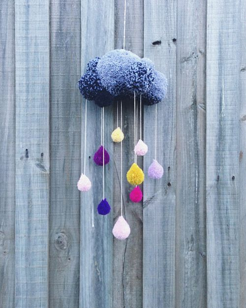 Pom pom cloud with raindrops