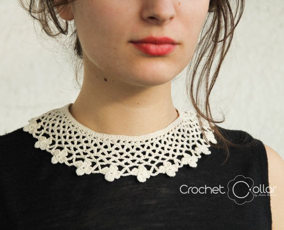 Casual Vintage Crochet Collar with flowers by CrochetCollars