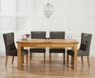 Mark Harris Rustique Solid Oak 150cm Extending Dining Table With 4 Stefini Grey Chair
