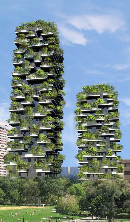 Vertical Forest. Inspiration. Eco-friendly apartment buildings in the downtown of Milan, Italy will feature hundreds of real trees planted on large balconies. Designed by Italian architect Stefano Boeri, two residential towers will house more than 900 trees, 5,000 shrubs, and 11,000 plants. Waterproof balconies filled with high quality soil will be equipped with automated plant watering system, will be completed by the end of 2013. The world's first vertical forest in the middle of Milan!