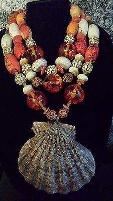 BOLD CHUNKY SHELL STATEMENT NECKLACE WOW FACTOR CRUISE SUMMER TROPICAL Boho Sexy