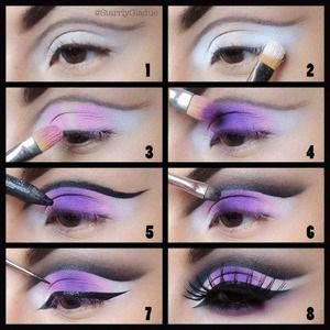 1. Apply a white base (NYX milk jumbo pencil), and outline the crease with a black shadow and liner brush 2. Apply Sugarpill 'tako' shadow on the inner & outer corners (matte white) 3.Blend a light pink matte shadow (MAC silly) into the white shadow 4. Apply Sugarpill 'poison plum' in the centre of the lid and blend into the light pink 5. Define the crease with MAC feline pencil (my fav) 6. Shade out with MAC #228 brush and soften with a fluffy brush 7. Apply a black liquid winged liner and…