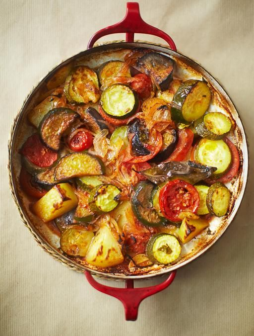 Briam: A delicious Greek vegetable bake. This popular veggie medley is traditionally eaten with feta, but it's also awesome with pork chops | Jamie Magazine