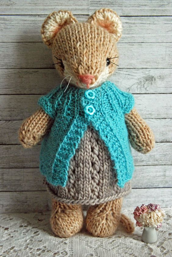Cecily - Knitted Woodland Mouse Toy in Grey Dress and Turquoise Cardigan